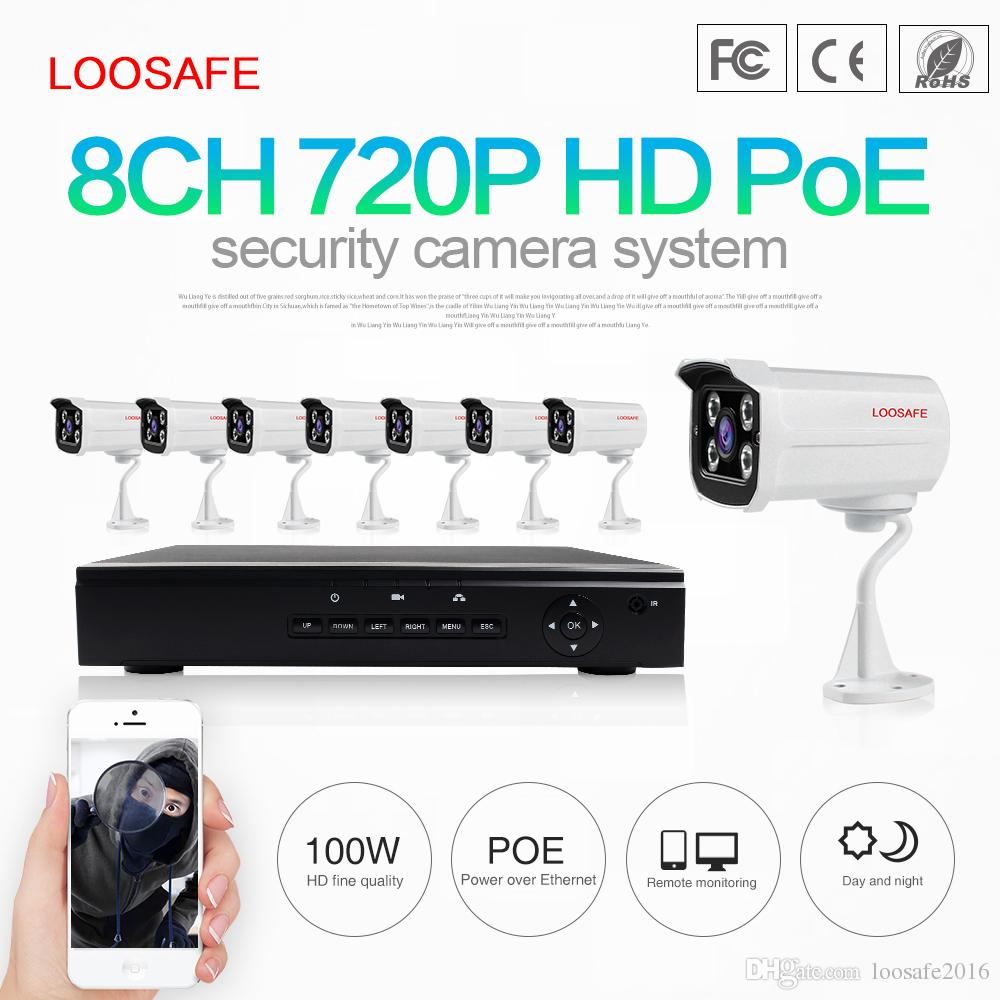 2018 loosafe smart home security systems 8ch 720p poe ip cameras and