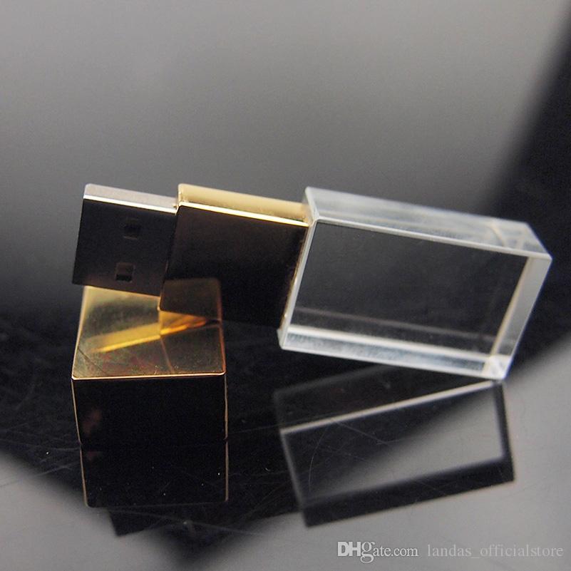 Mode USB Crystal Pen Drive 4 Go 8 Go 16 Go 32 Go USB Flash Drive U disque USB 2.0 clés USB Memory Stick pour le cadeau de mariage féminin