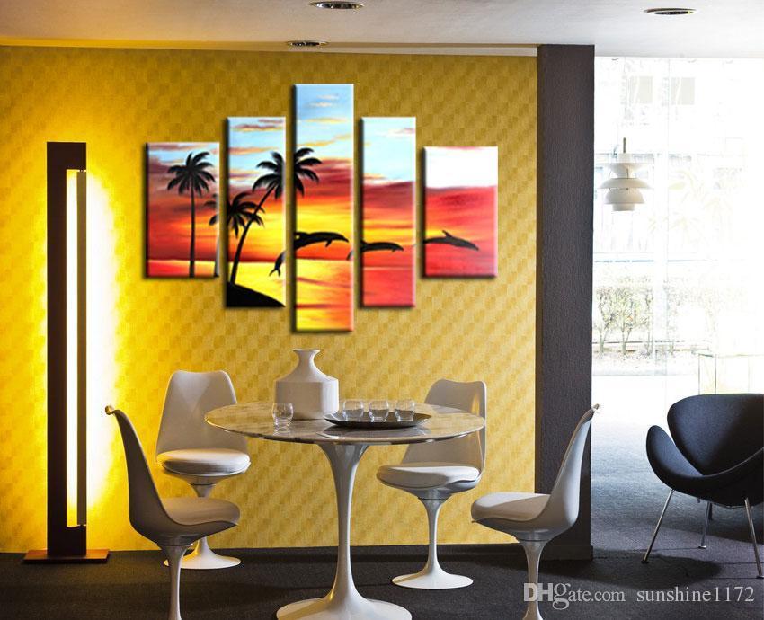 2018 5 Panel Modern Abstract Art Home Decor Danced Dolphin Framed ...