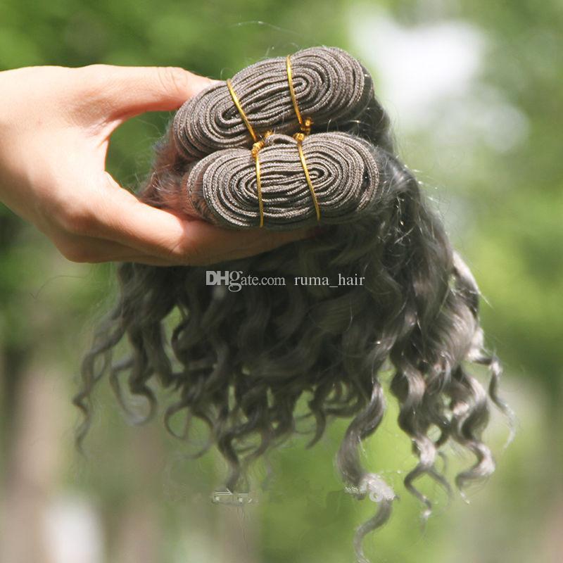 Heißer Verkaufs-silbernes Grau-Menschenhaar-Erweiterungen reine Farbe #Gray tiefe lockige peruanische Haar-Einschlagfäden brasilianische graue lockige Haar-Webart 8A