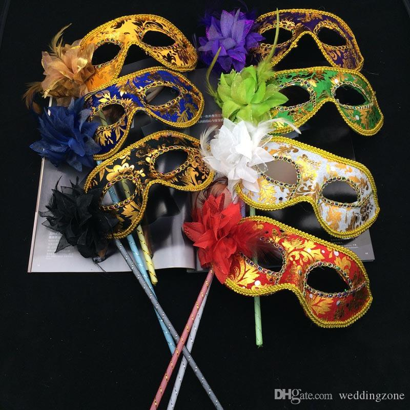 Woman Mask On Stick Sexy Eyeline Venetian Masquerade Party Mask Sequin Lace Edge Lateral Flower with optional Colors