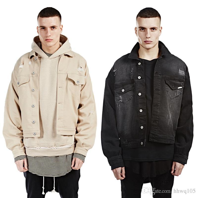 0f5434166f4f0 Fashion Oversized Denim Jackets Black Apricot Distressed Ripped Jean Coat  Kanye West Hip Hop Streetwear Men Winter Biker Jacket OSG1006 Jackets For Man  Coat ...