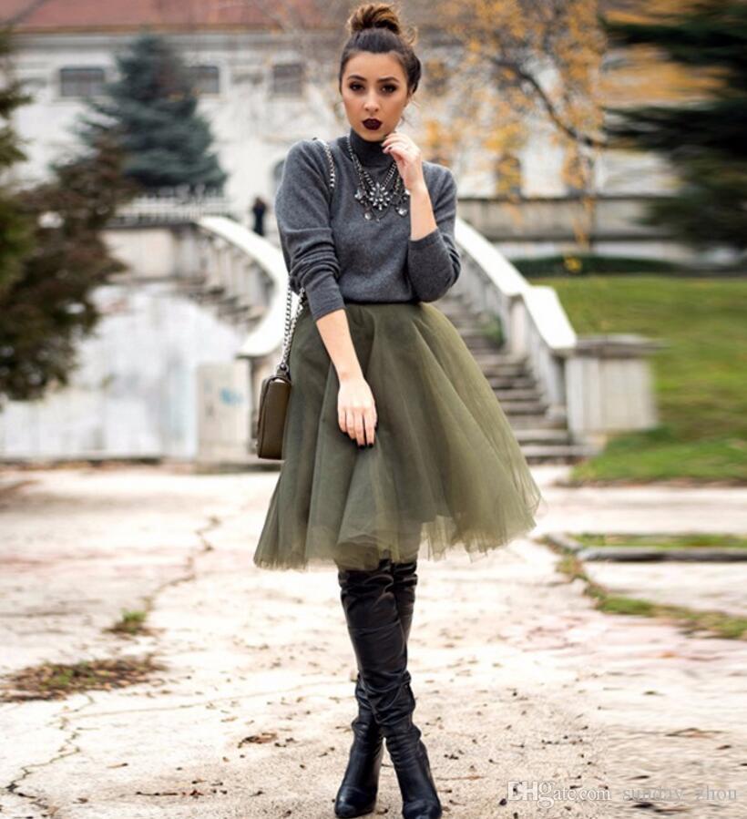Color sólido Longitud de la rodilla Ejército Verde Faldas de tul Otoño Invierno Vestidos de las mujeres Puffy custom Tutu Falda para las mujeres