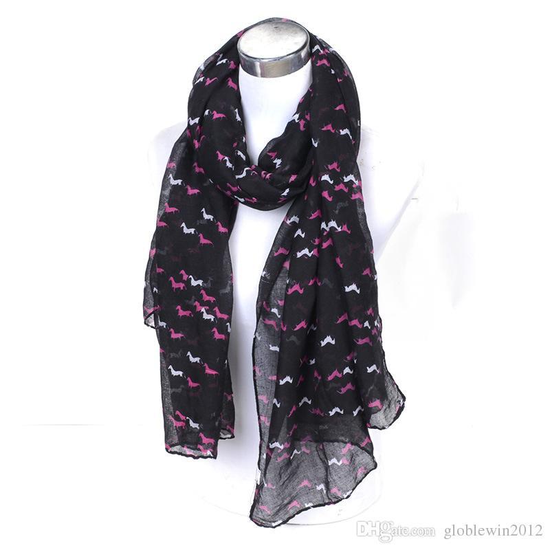 ファッションスウィフトホースプリント動物スカーフ女性ミニホースショールラップアニマルパターンハイジャブソフトライトウェイトハイジャブ7色、送料無料