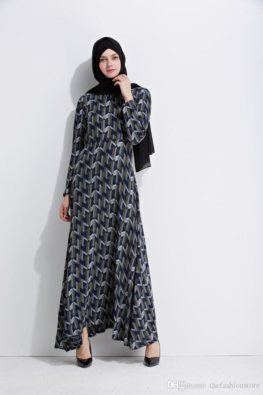 Llegada Abaya Musulmanas Mujeres Otoño de 2018 Manga Islámico Nueva Caftan Estampado Floral Vestido Kaftan Maxi Larga qSAOwE