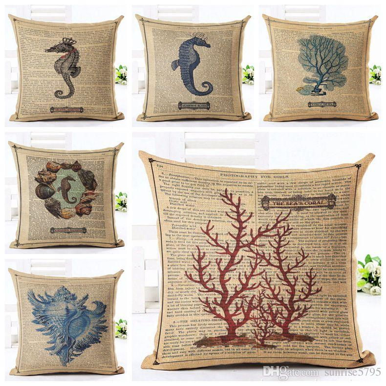 Vintage Marine Cushion Cover Shabby Chic Coral Throw Pillow Case For Chaise  Sofa Sea Horse Shell Almofada Decorative Linen Cojin Oversized Outdoor  Cushions ...