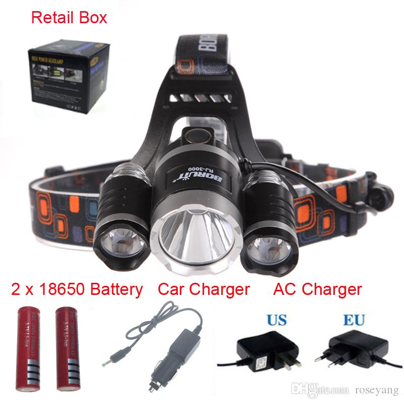 Boruit 8000 Lumen 3XXM-L T6R5 LED Headlamp Headlight 18650 Head Torch Lamp+AC Charger+Car Charger+2*18650 Battery for Outdoor Camping