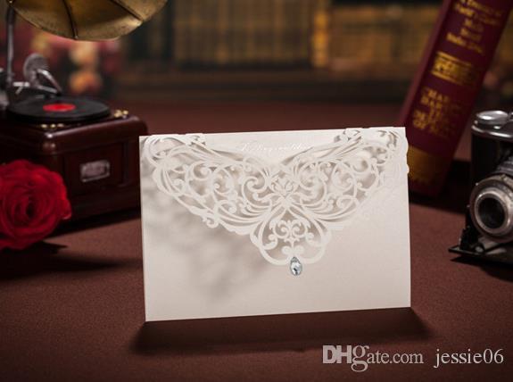 Vit Laser Crystal Personlig Bröllop Alla hjärtans dag Evening Party Inbjudningskort Kort och kuvert hälsningskort Festivt tillbehör