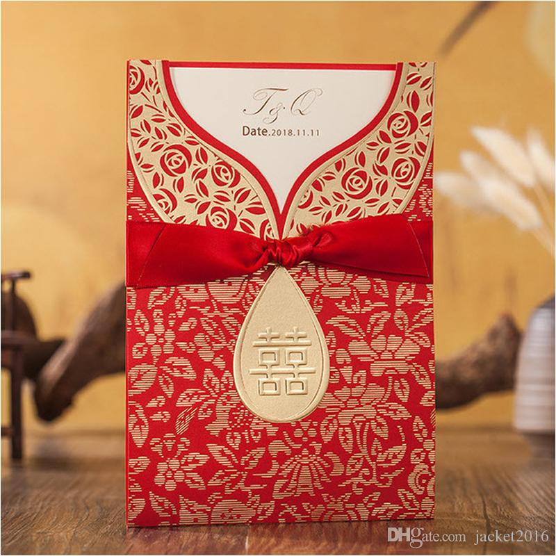 chinese traditional wedding invitations new red xi personalized printing bridal shower invitations with envelope weddings events wedding invitation