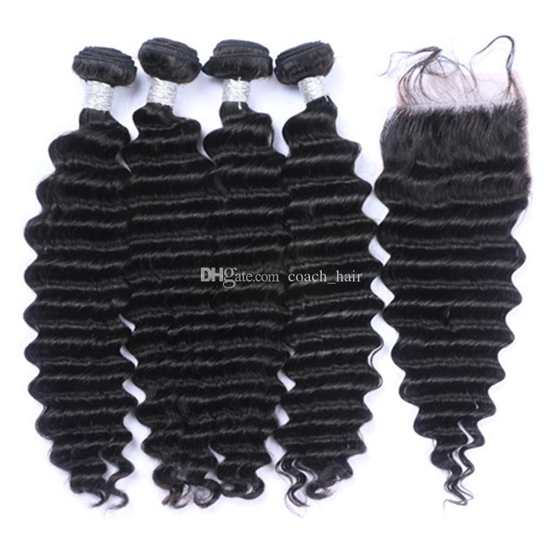 Brazilian Deep Wave Virgin Hair 4 Bundles With Lace Closure Human Hair Weaves With Top Closure Curly Hair