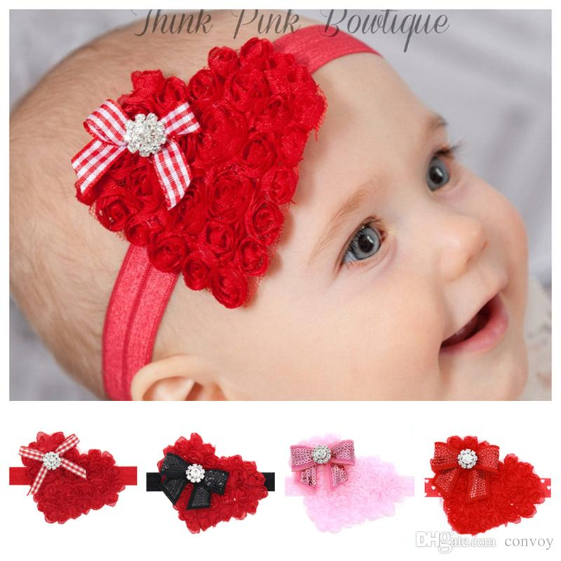 Christmas Headband For Baby Girl.Baby Girls Christmas Headbands Heart Shape Boutique Bow Hair Accessories Kids Elastic Paillette Headband Chiffon Bow Hairbands Kha548