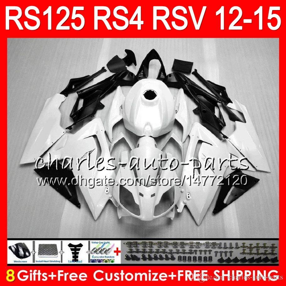 Inyección Para Aprilia RS4 RSV125 RS125 12 13 14 15 RS125R 12-15 RS-125 72NO7 blanco brillante RS125RR RSV 125 RS 125 2012 2013 2014 2015 Fairing