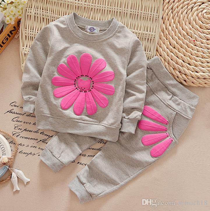 Spring Autumn Girls Tracksuit Baby Kids Flowers Tops Sweatshirt + Pants Clothing Suits Children Cotton Outfits Sets 2231