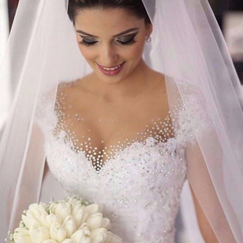 Princess Plus Size Wedding Dresses 2019 Bride Gown Ivory Lace White Vestido De Noiva Vintage Casamento china-online-store