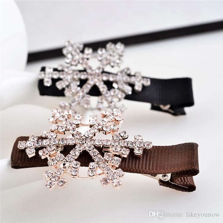Diamond drill full Bowknot hairpin crystal crown hair clips Ms duck mouth clamp Bride crystal hairpin