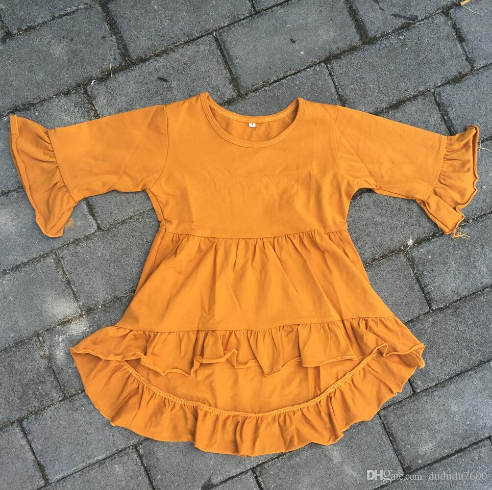 d38ca98a9 2019 Baby Girl High Low Top Long Sleeve Ruffle Tunic 0 12 Years Old ...