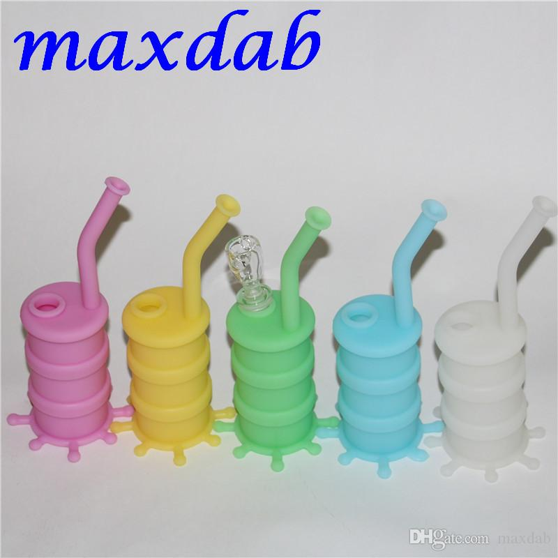 2017 nuovo arrivo mini bagliore in silicone scuro tubo di acqua bong di vetro tubo di acqua silicone olio rig sette colori la scelta