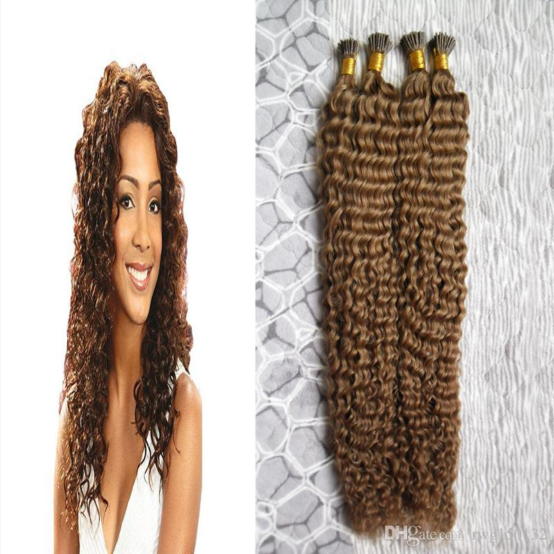 8 Light Brown Human Hair Fusion Extensions 200 Deep Curly I Tip Hair