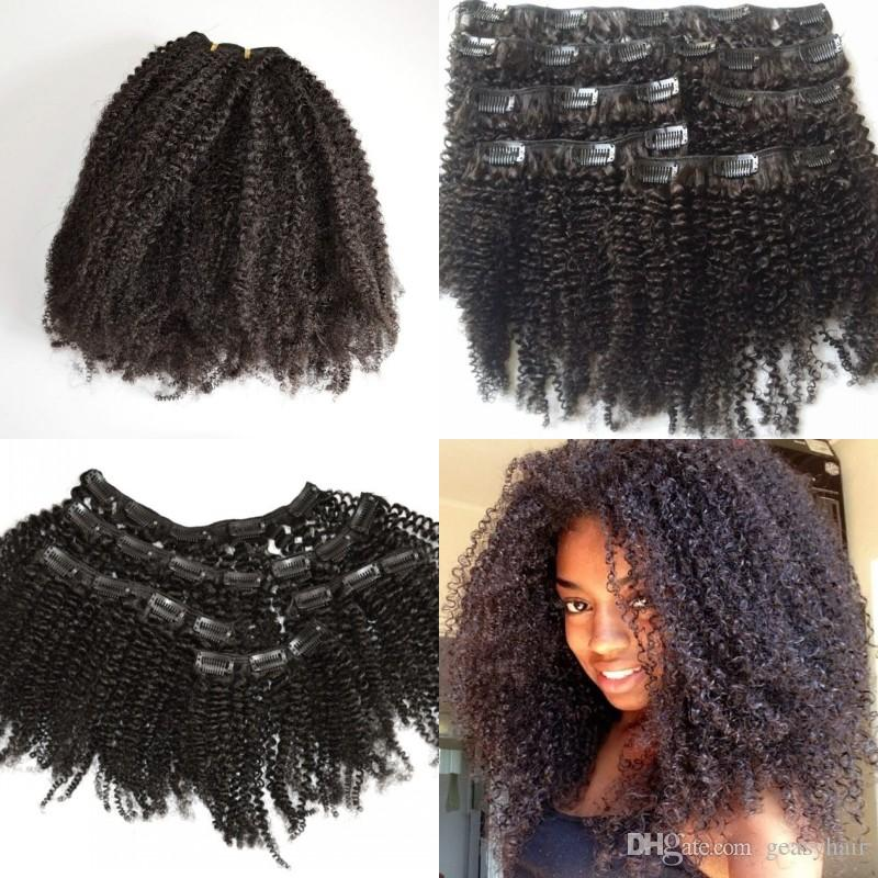 Afro Kinky Curly Clip In Hair Extensions Virgin Curly Clip Indian