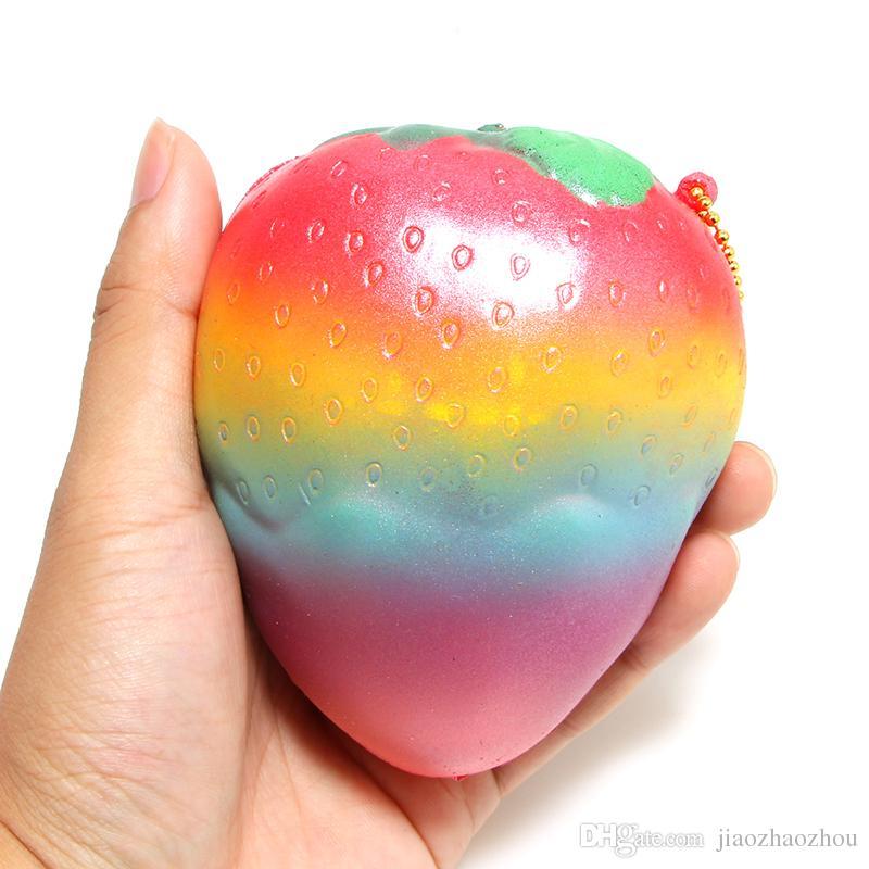 2017 New New Slow Rising Squishy Rainbow Strawberry Bread Charm Phone Straps/Soft Fruit Kids Toys 11.5*9.5CM
