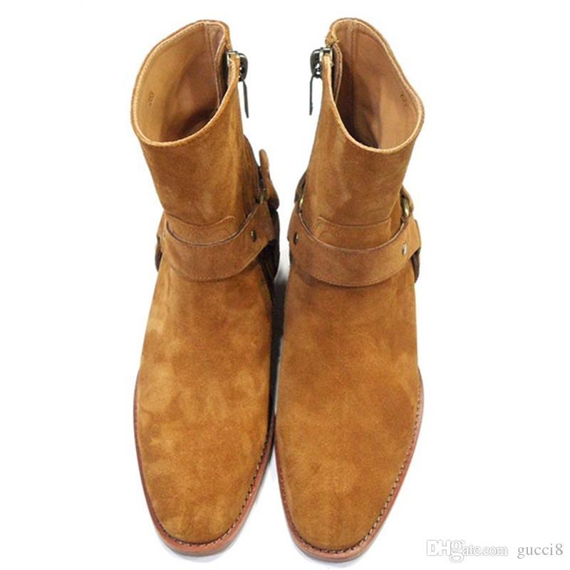 big sale ed3f0 aaf0a Mode Wyatt Biker Ketten Ankle Boots Herren Schuhe Spitz Schnalle Männer  Stiefel Braun Leder Herren Kleid Schuhe Botas Militares Schuhe Männer
