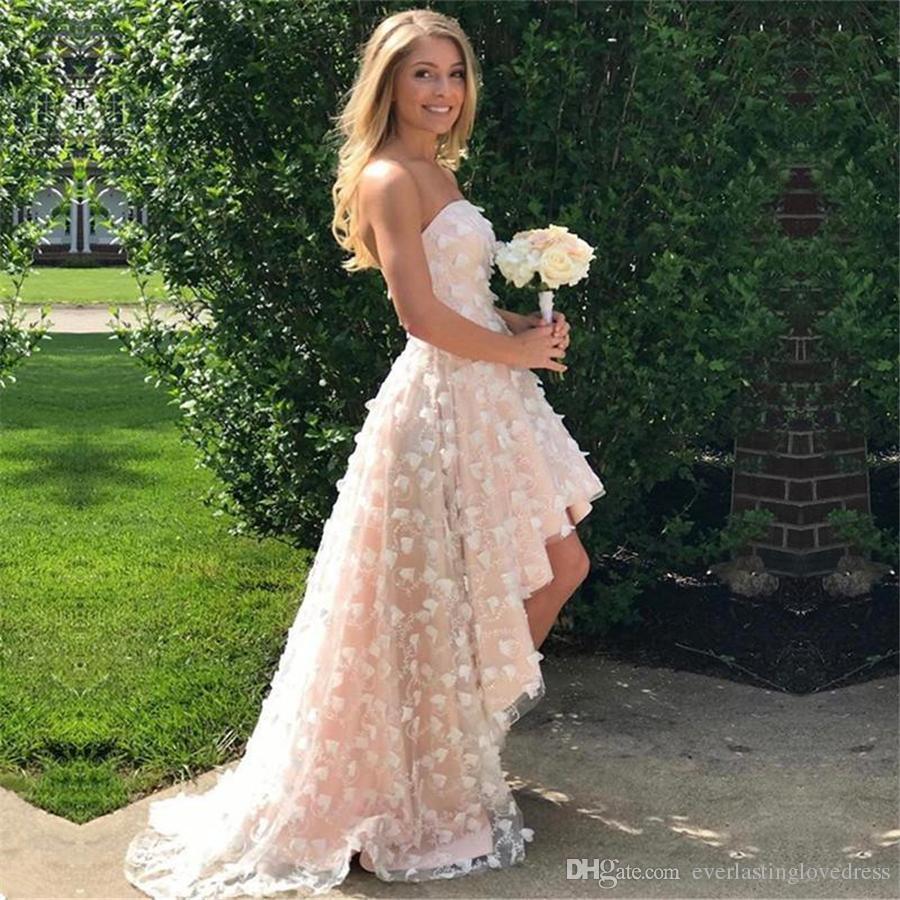 Elegante vestido de fiesta de cóctel sin mangas con encaje de champán, alto y bajo, con flores hechas a mano Vestido de fiesta formal