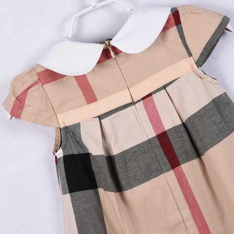 뜨거운 판매 3 색 2018 새로운 도착 여름 소녀 짧은 소매 옷 깃 고품질의 면화 아기 아이 큰 격자 무늬의 활 드레스 무료 배송