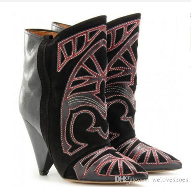 2017 الجديدة النساء التطريز أحذية سبايك كعب الجوارب الكاحل بوينت تو الجوارب اللباس أحذية روما نمط الأحذية امرأة
