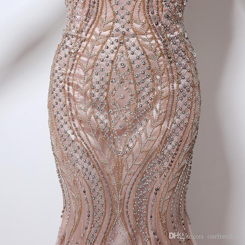 Echt Bild Dubai Rode De Soiree Illusion Lange Abendkleider 2019 Neue Luxus Kristall Perlen Meerjungfrau Abendkleid Real Photo für Frauen LX029