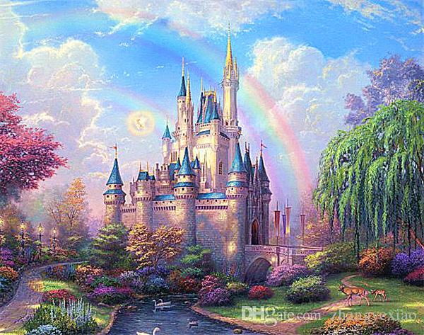 New diy diamond painting cross stitch kits resin pasted painting full square drill needlework Mosaic Home Decor scenic rainbow castle zf0038