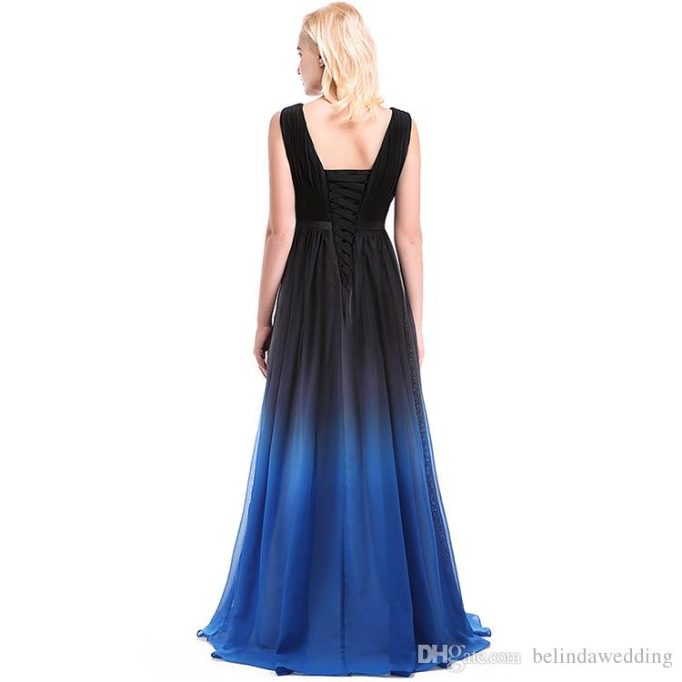 Ombre Formal Evening Gowns V Neck Evening Dresses Printed Long Pleats Bridesmaid Celebrity Prom Gown Gradient Ramp Formal Wear