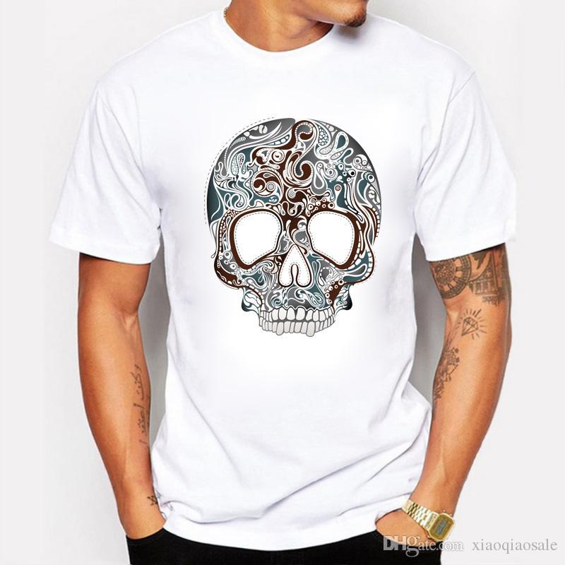 Новый летний Мужские футболки мода череп 3d Майка мужчины хип-хоп мужчины футболка повседневная топы тис скейт Хабар плюс размер