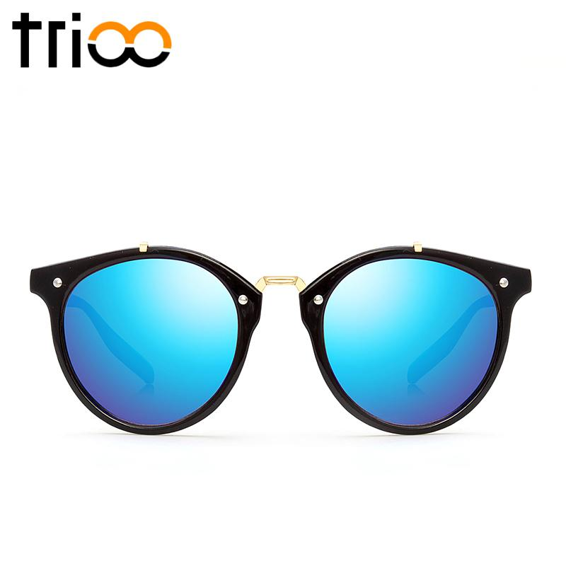a615467b03 Wholesale-TRIOO Vintage Round Sunglasses Women Fashion Designer Eyewear  UV400 Gradient Female Retro Sun Glasses Brand Points Sun Women Sun Women  Sun Brand ...