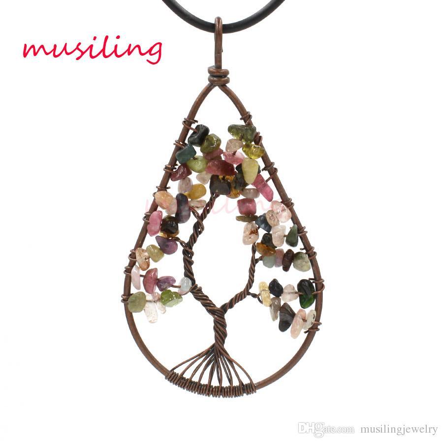 Ciondolo albero di vita Pendenti in pietra naturale Vintage Rame placcato maglione pendente accessori pendenti Gioielli europei di moda le donne