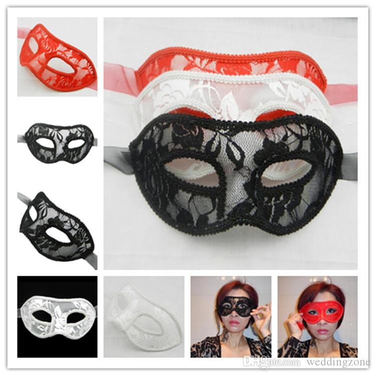 Sexy Women Feathered Venetian Masquerade Masks Sexy Lace Mask For Party NightClup optional colors[Black white red]