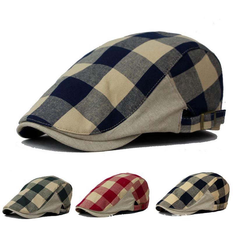 ec2d9cb4f7e Wholesale-man Plaid Beret Male Hat Male Flat Cap Women Newsboy ...