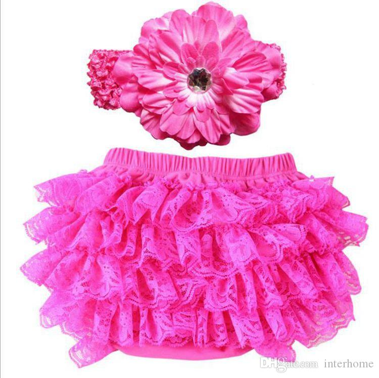 Baby Bloomers Kids Clothing Girl TUTU Pettiskirts Lace PP Pants Toddler Flower Headbands Shorts Infant Chiffon Pants Ruffled Underpants G161