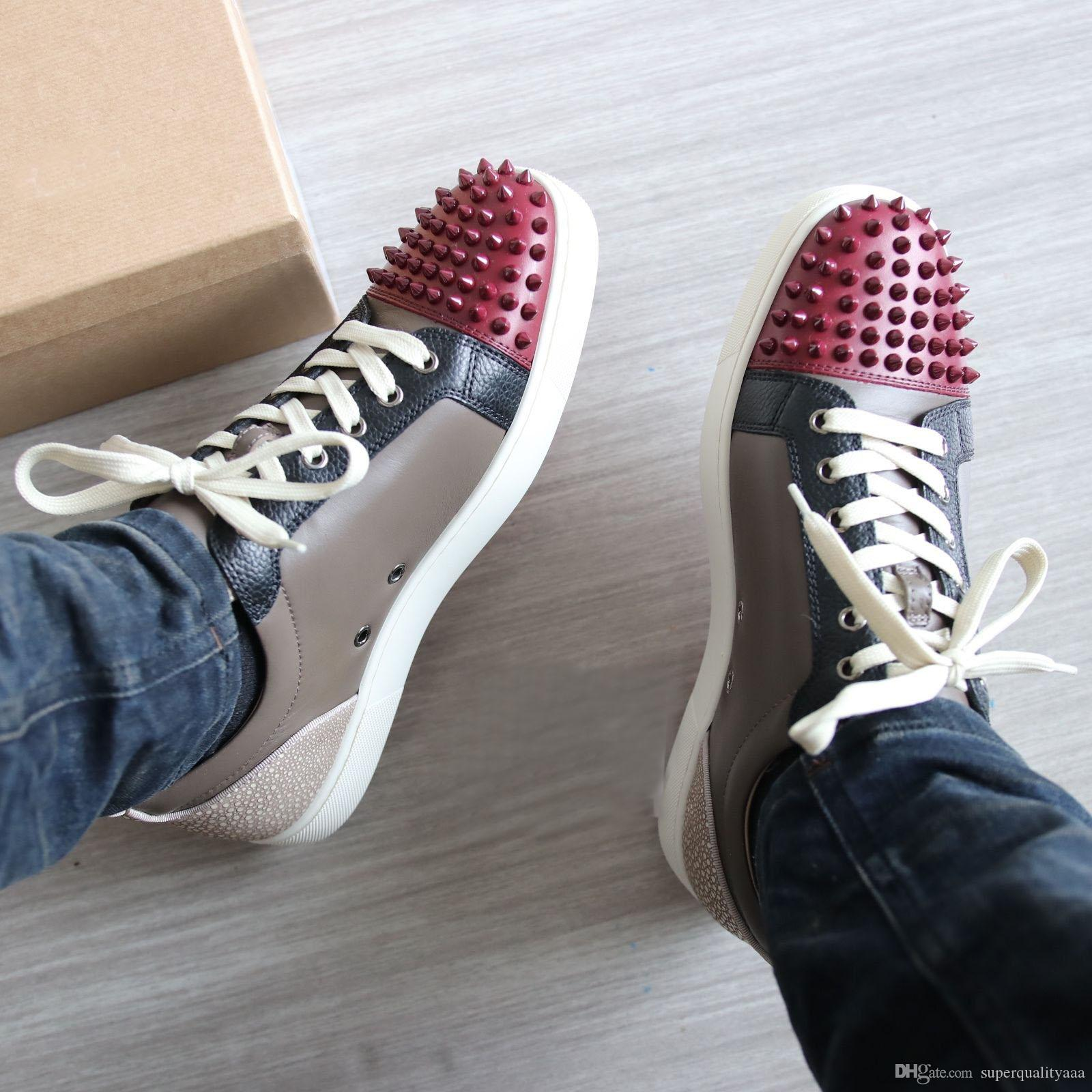 c4e1fb3d2497 Original Quality Low Top Spikes Sneakers Shoes Junior Red Bottom ...