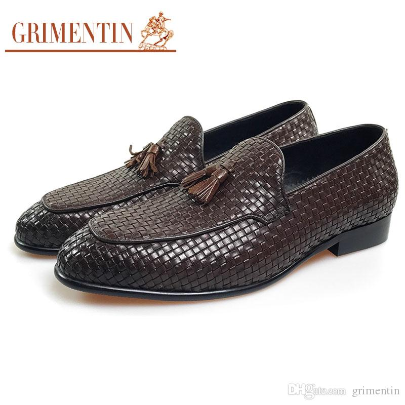 Grimentin Newest 2018 Fashion Braided Men Dress Shoes Italian Woven Style  Formal Shoes Genuine Leather Slip On Men Loafers Size:38 44 Jm8 Walking  Shoes Flat ...