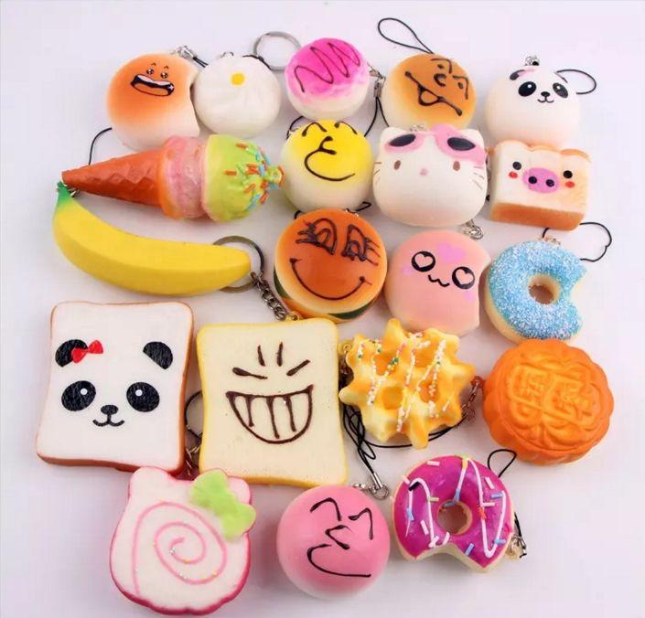 2018 3d kawaii squishy charm rilakkuma donut cute cellphone case phone straps bag keychain