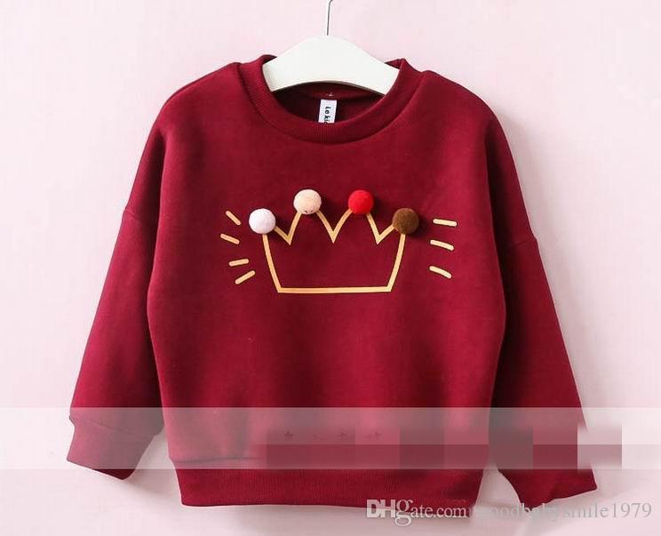 2017 Herbst-Winter-Mädchen-T-Shirts runde Kragenhaarbirne lomg-Hülse Sweatshirts Kinder, die freies Einkaufen kleiden