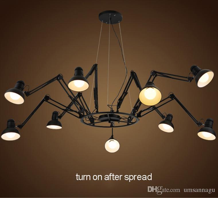 Lampade a sospensione LED Modern Spider Lampade a sospensione Black White Spider Fixture 6/9/12 Lamps Industrial Restaurant Office Working Shop Cafes Light