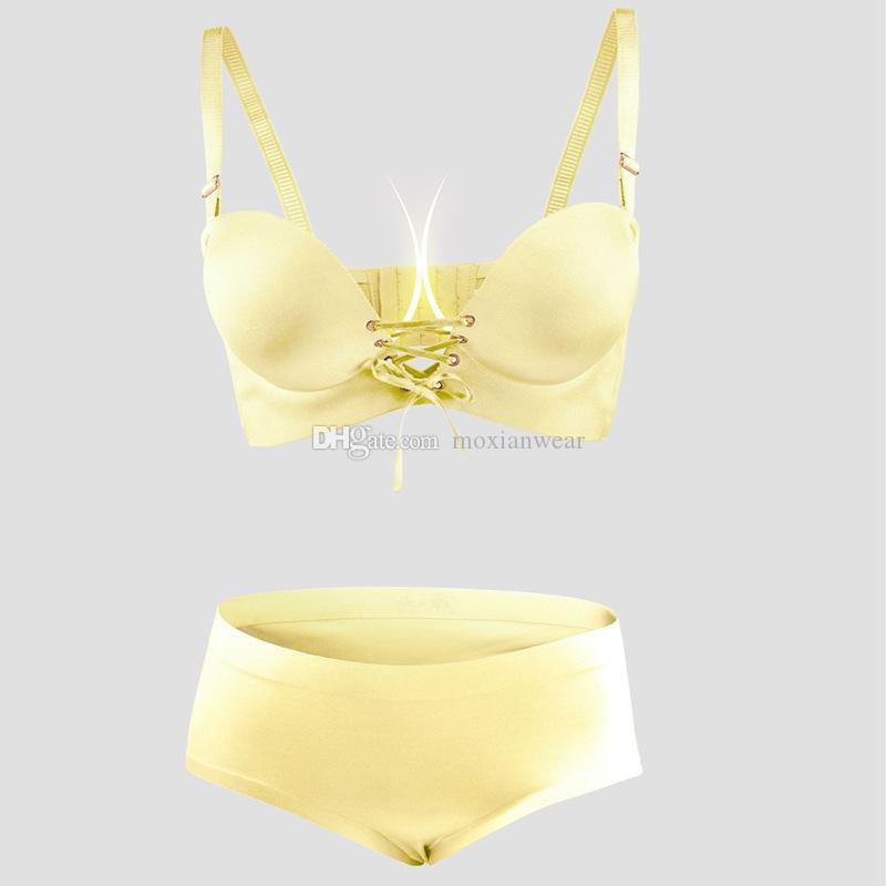 Ziehen Sie fest, sammeln Sie kleine Brust verdickende Mode weibliche sexy Band graviert BH BH-Set, um Sie frei und frei zu atmen 1593