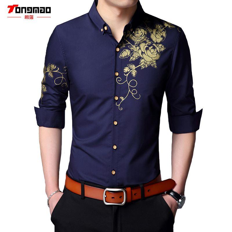 Spring and Autumn 2018 Newest Fashion Autumn Mens Shirt Candy Slim Fit Luxury Casual Stylish Dress Shirts 4 Colours Plus Sizes 165-200 cm