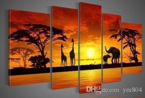 2019 5 Panels African Animal In Sunset,Genuine Hand