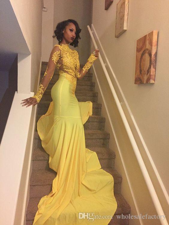 Vestidos de baile de la sirena amarilla vestidos mangas largas vestidos de noche de cuello alto con apliques vestidos largos atractivos de baile de fin de curso 2017 de la venta caliente
