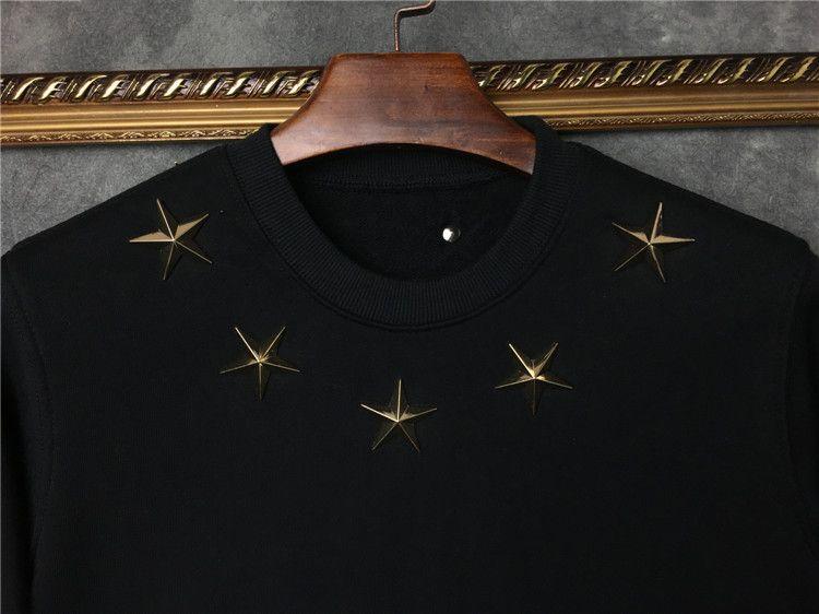 2019 hotselling sonbahar moda etiketi giyim mens altın metal yıldız 74 sıcak damga baskı hoodies kazak Tasarımcı kazak bayan süveter