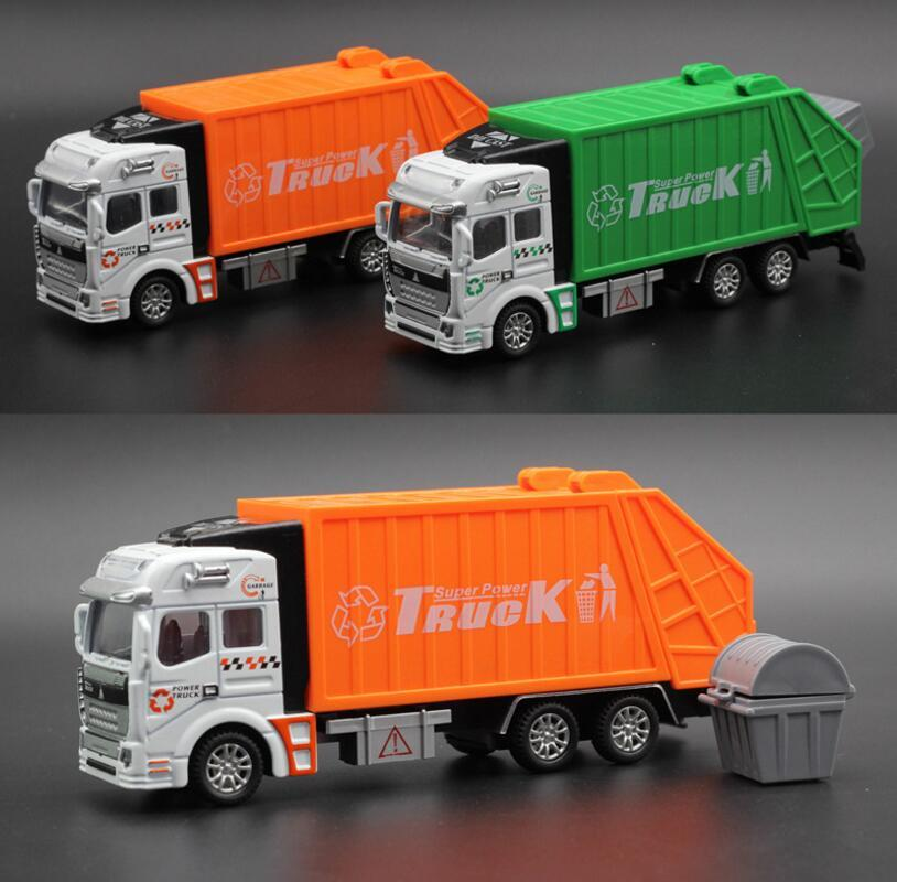Alloy Car Model Mini Diecast ABS Material Delicate Pull Back Toy for Kids Sanitation Garbage Trucks Transport Vehicle Toys Gift Cars