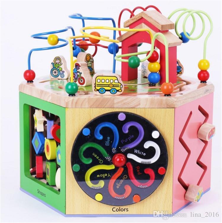 HOT giocattoli di legno multifunzionale perline animali labirinto bambino precoce apprendimento giocattoli clock blocchi calcolo 6 faccia con grande scatola di trasporto libero