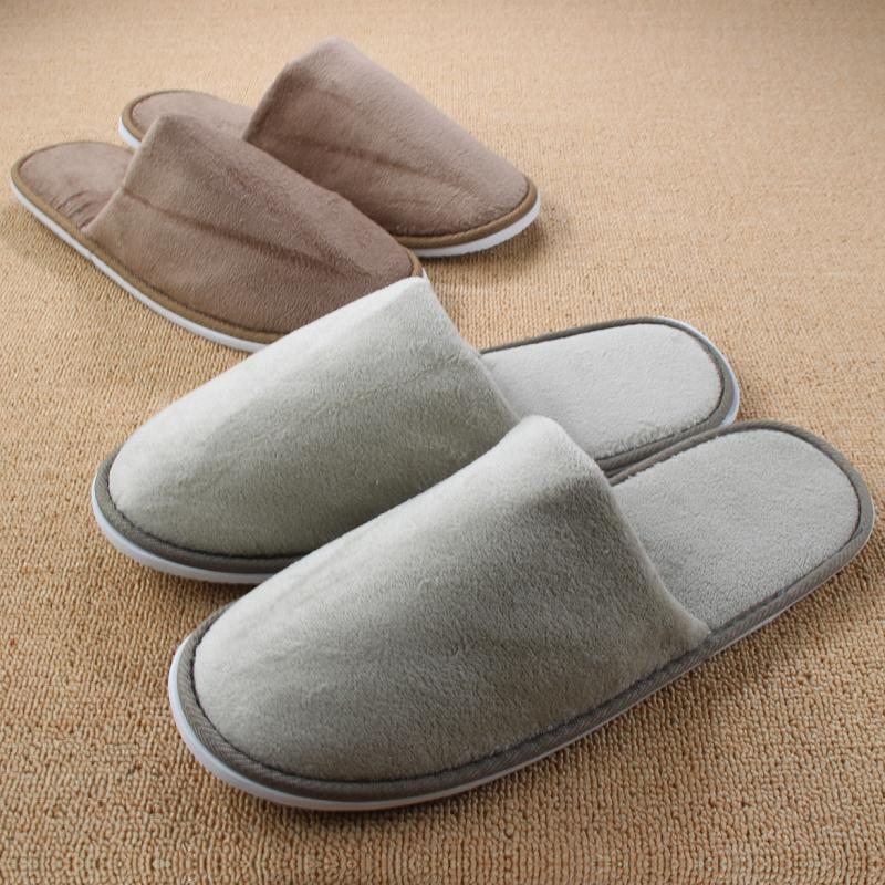 832db80f0 Wholesale Women Indoor Slippers For Men Hotel Travel Bedroom Floor Winter  Home Shoe Warm Plush Indoor Coral Fleece Soft Pantufa Chinelos Happy Feet  Slippers ...
